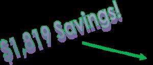 Depreciation - $1,819 Savings Icon